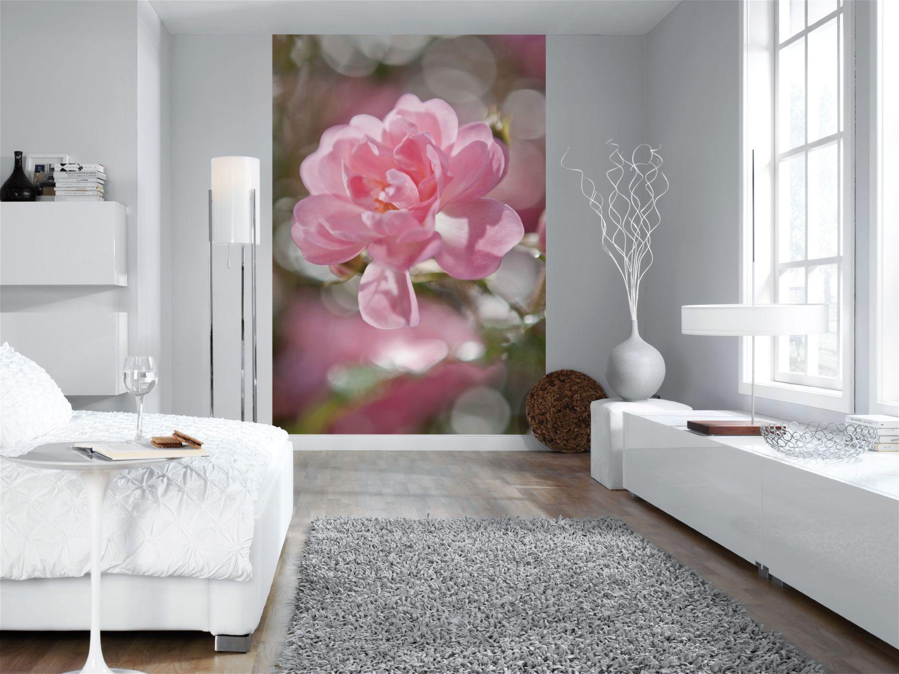 Idee de cadouri de 8 Martie acest fototapet pentru dormitor, un model floral delicat si suav de trandafir roz.