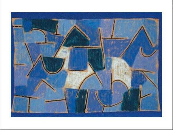 Tablou inramat Noapte albastra dupa Klee pentru un decor in stil scandinav