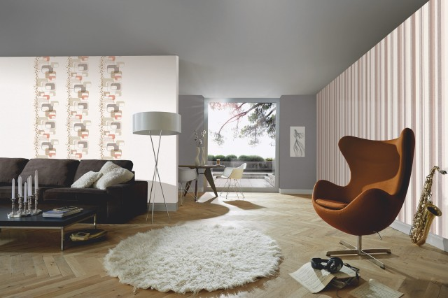 Tapet lavabil texturat cu forme geometrice retro discrete - decorarea living-ului