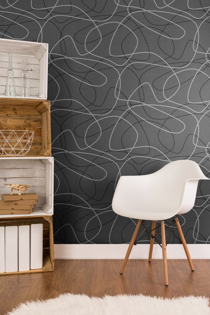 Tapet lavabil texturat motiv modern cu linii dinamice - decorarea living-ului