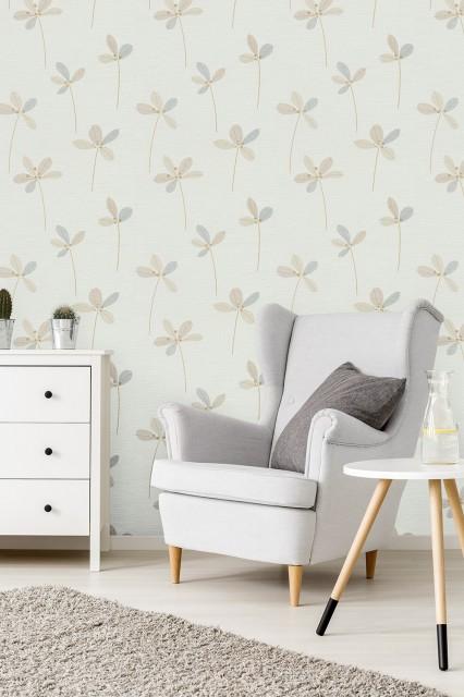 Tapet lavabil texturat-vintage cu motiv grafic vegetal - amenajarea dormitorului