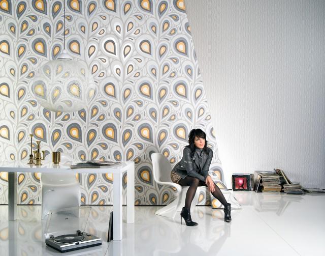 Tapet modern cu-picaturi grafice - amenajarea dormitorului